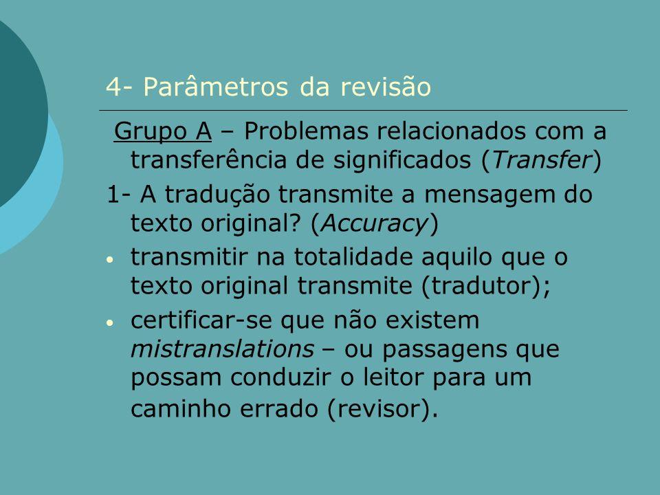 4- Parâmetros da revisão Grupo A – Problemas relacionados com a transferência de significados (Transfer) 1- A tradução transmite a mensagem do texto o
