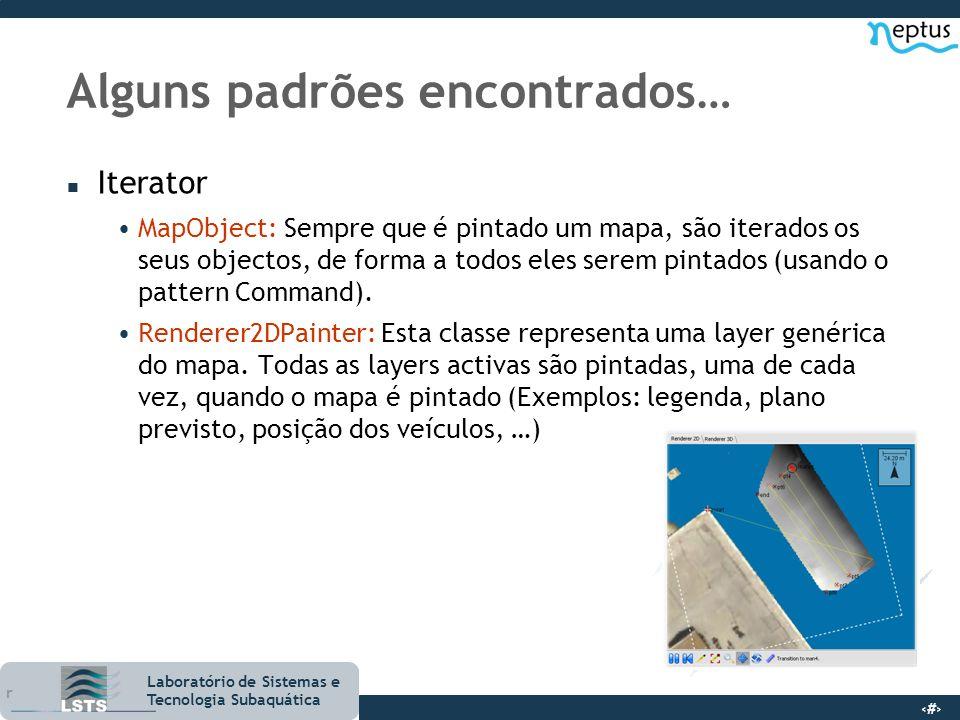 15 Laboratório de Sistemas e Tecnologia Subaquática Alguns padrões encontrados… n Iterator MapObject: Sempre que é pintado um mapa, são iterados os se
