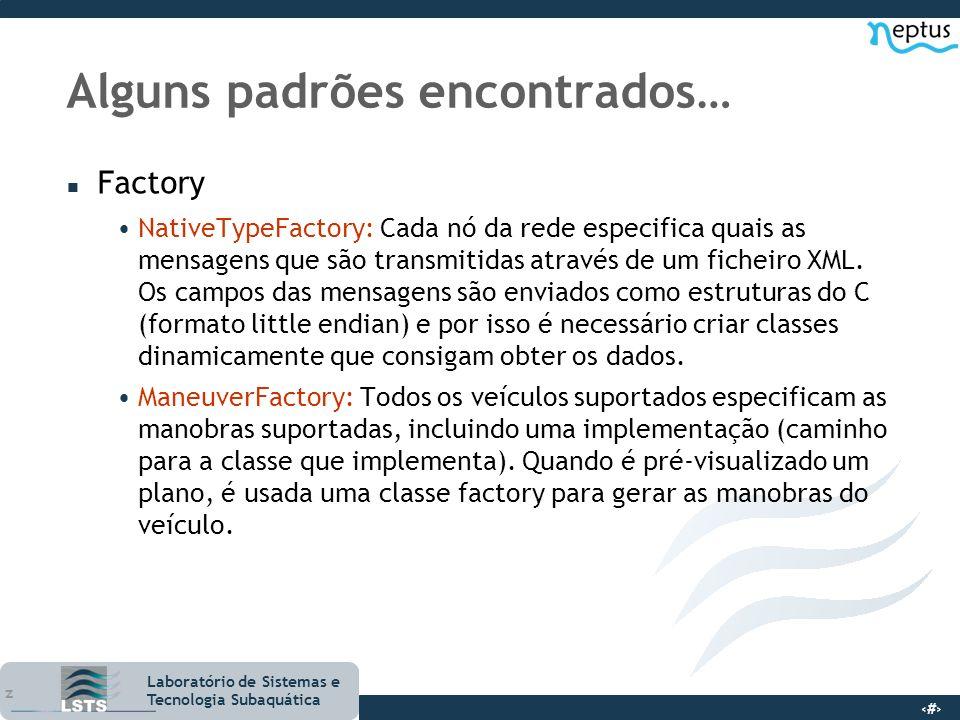 17 Laboratório de Sistemas e Tecnologia Subaquática Alguns padrões encontrados… n Factory NativeTypeFactory: Cada nó da rede especifica quais as mensa