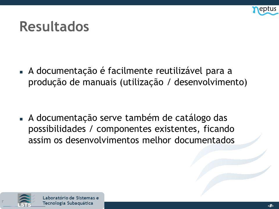 18 Laboratório de Sistemas e Tecnologia Subaquática Resultados n A documentação é facilmente reutilizável para a produção de manuais (utilização / des