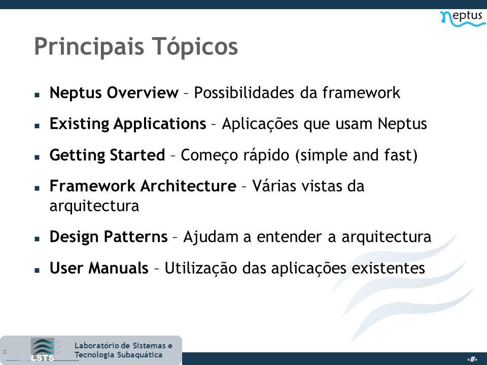 6 Laboratório de Sistemas e Tecnologia Subaquática Principais Tópicos n Neptus Overview – Possibilidades da framework n Existing Applications – Aplica
