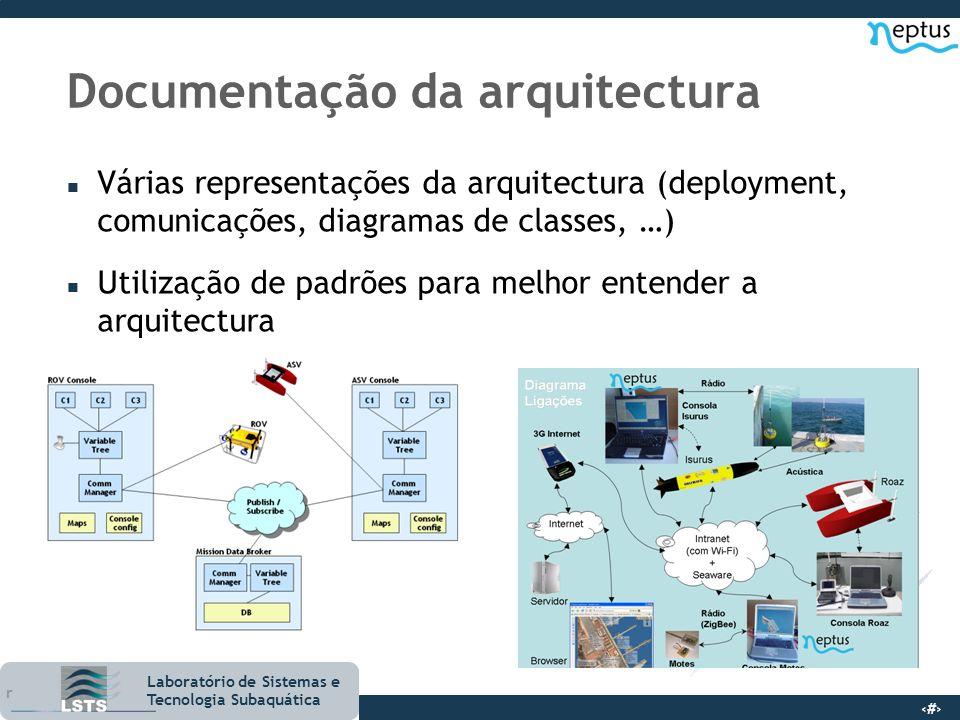 8 Laboratório de Sistemas e Tecnologia Subaquática Documentação da arquitectura n Várias representações da arquitectura (deployment, comunicações, dia