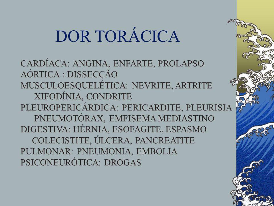 DOR TORÁCICA CARDÍACA: SUBESTERNAL, PROVOCADA POR ESFORÇOS, EMOÇÕES, REFEIÇÕES ALIVIA C/ REPOUSO OU NITRATOS SUORES, NÁUSEAS PLEURAL: PRECIPITADA PELA RESPIRAÇÃO E TOSSE, ALIVIA C/ PARAGEM RESP.