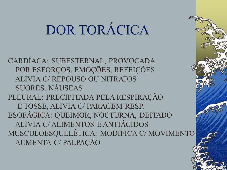 FADIGA ESPORÁDICA, PERSISTENTE,GRAU, AO LEVANTAR SINTOMAS ASSOCIADOS: DISPNEIA DE ESFORÇO DOR TORÁCICA, PALPITAÇÕES, ORTOPNEIA ANOREXIA, NÁUSEAS, VÓMITOS MEDICAÇÕES