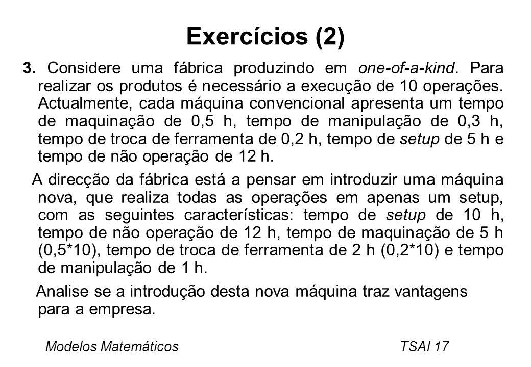 Modelos Matemáticos TSAI 17 Exercícios (2) 3. Considere uma fábrica produzindo em one-of-a-kind. Para realizar os produtos é necessário a execução de