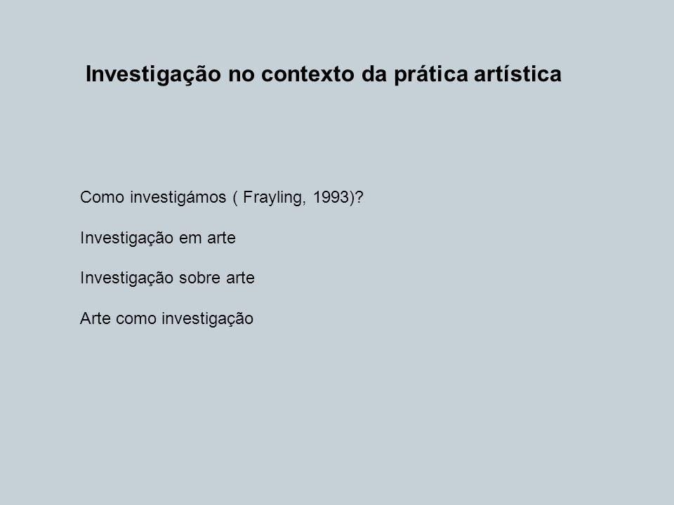 Investigação no contexto da prática artística Como investigámos ( Frayling, 1993)? Investigação em arte Investigação sobre arte Arte como investigação