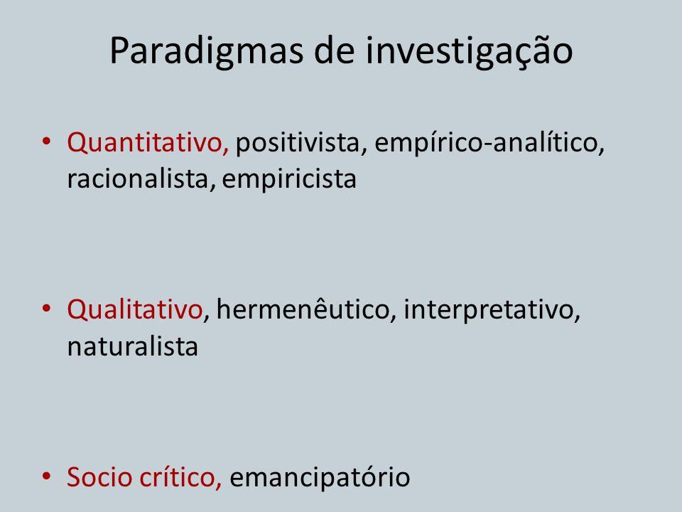 Quantitativo, positivista, empírico-analítico, racionalista, empiricista Qualitativo, hermenêutico, interpretativo, naturalista Socio crítico, emancip