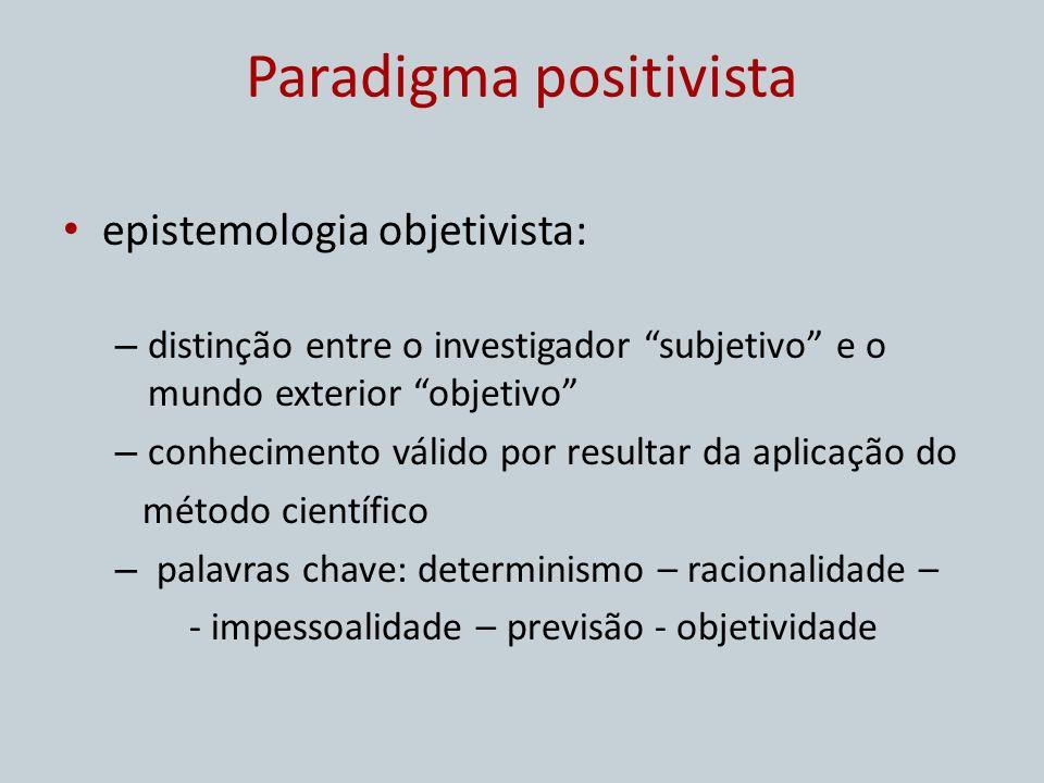 Paradigma positivista epistemologia objetivista: – distinção entre o investigador subjetivo e o mundo exterior objetivo – conhecimento válido por resu