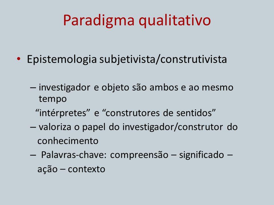 Paradigma qualitativo Epistemologia subjetivista/construtivista – investigador e objeto são ambos e ao mesmo tempo intérpretes e construtores de senti