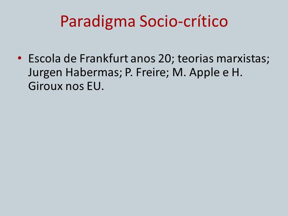 Paradigma Socio-crítico Escola de Frankfurt anos 20; teorias marxistas; Jurgen Habermas; P. Freire; M. Apple e H. Giroux nos EU.