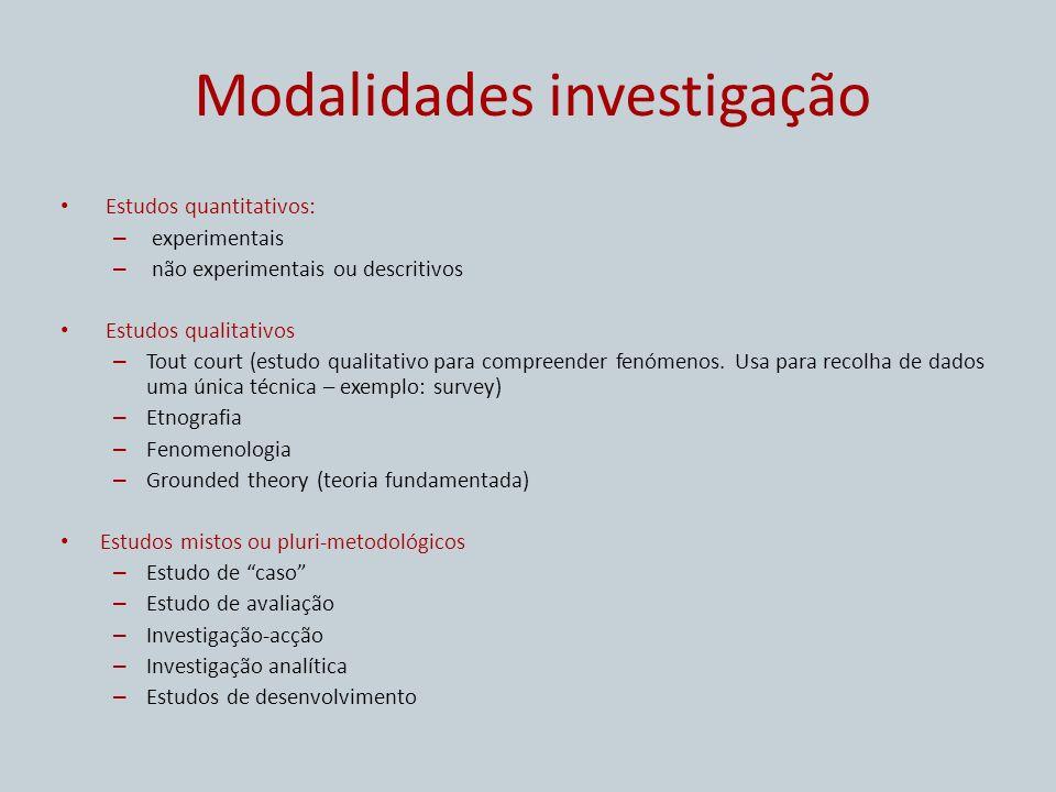 Modalidades investigação Estudos quantitativos: – experimentais – não experimentais ou descritivos Estudos qualitativos – Tout court (estudo qualitati