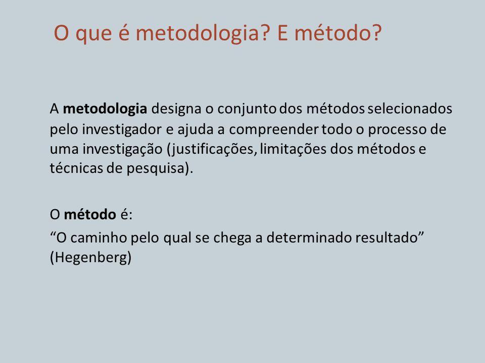 O que é metodologia? E método? A metodologia designa o conjunto dos métodos selecionados pelo investigador e ajuda a compreender todo o processo de um