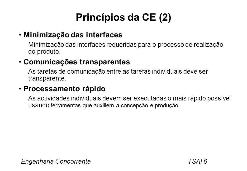 Engenharia Concorrente TSAI 7 Dificuldades associadas ao CE Características do processo de concepção O processo de concepção envolve um numero de actividades separadas em estágios.