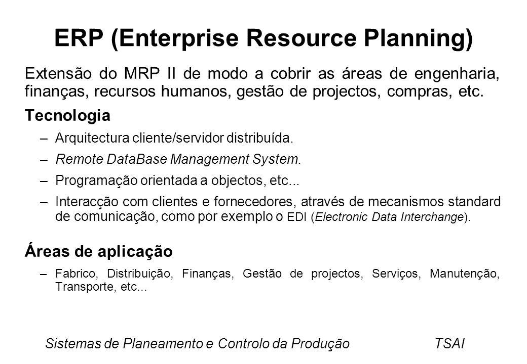 Sistemas de Planeamento e Controlo da Produção TSAI ERP (Enterprise Resource Planning) Extensão do MRP II de modo a cobrir as áreas de engenharia, finanças, recursos humanos, gestão de projectos, compras, etc.