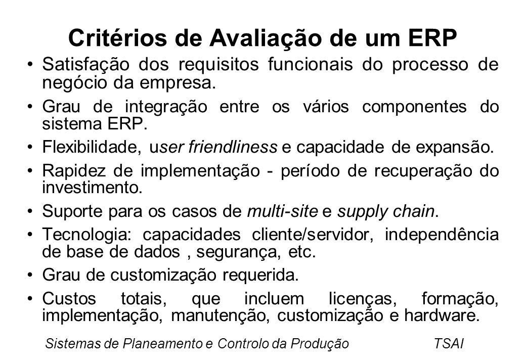 Sistemas de Planeamento e Controlo da Produção TSAI Critérios de Avaliação de um ERP Satisfação dos requisitos funcionais do processo de negócio da empresa.