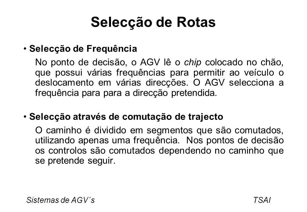 Sistemas de AGV´s TSAI Selecção de Rotas Selecção de Frequência No ponto de decisão, o AGV lê o chip colocado no chão, que possui várias frequências p