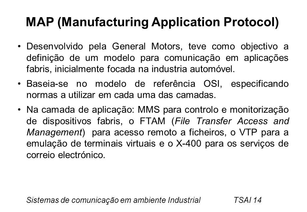 Sistemas de comunicação em ambiente Industrial TSAI 14 MAP (Manufacturing Application Protocol) Desenvolvido pela General Motors, teve como objectivo