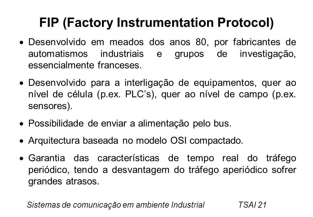 Sistemas de comunicação em ambiente Industrial TSAI 21 FIP (Factory Instrumentation Protocol) Desenvolvido em meados dos anos 80, por fabricantes de a