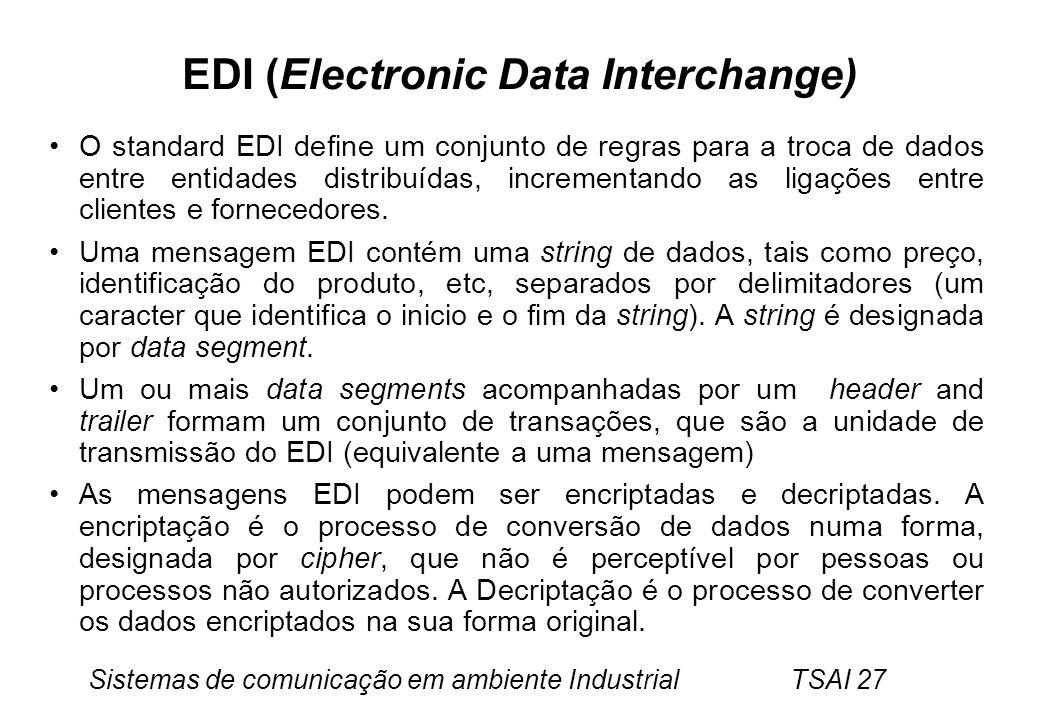 Sistemas de comunicação em ambiente Industrial TSAI 27 EDI (Electronic Data Interchange) O standard EDI define um conjunto de regras para a troca de d