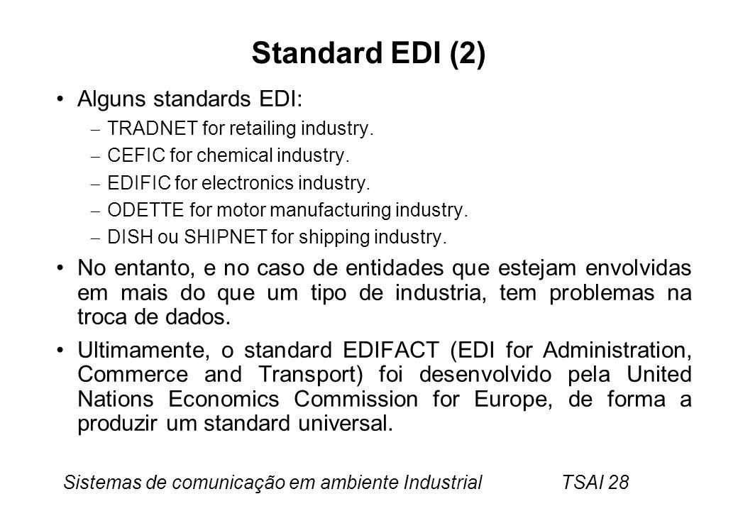 Sistemas de comunicação em ambiente Industrial TSAI 28 Standard EDI (2) Alguns standards EDI: TRADNET for retailing industry. CEFIC for chemical indus