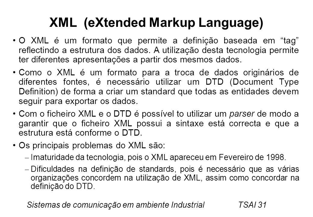 Sistemas de comunicação em ambiente Industrial TSAI 31 XML (eXtended Markup Language) O XML é um formato que permite a definição baseada em tag reflec