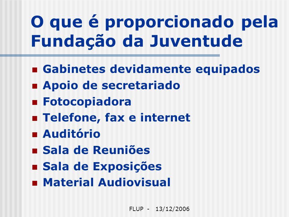 FLUP - 13/12/2006 O que é proporcionado pela Fundação da Juventude Gabinetes devidamente equipados Apoio de secretariado Fotocopiadora Telefone, fax e internet Auditório Sala de Reuniões Sala de Exposições Material Audiovisual