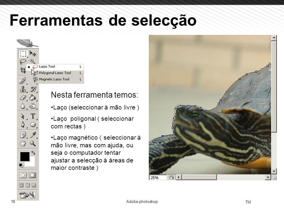 18 TM Adobe photoshop Ferramentas de selecção Nesta ferramenta temos: Laço (seleccionar à mão livre ) Laço poligonal ( seleccionar com rectas ) Laço m