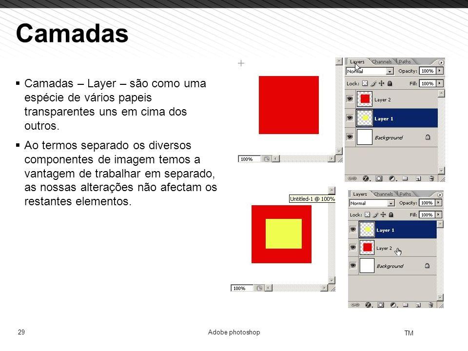 29 TM Adobe photoshop Camadas Camadas – Layer – são como uma espécie de vários papeis transparentes uns em cima dos outros. Ao termos separado os dive