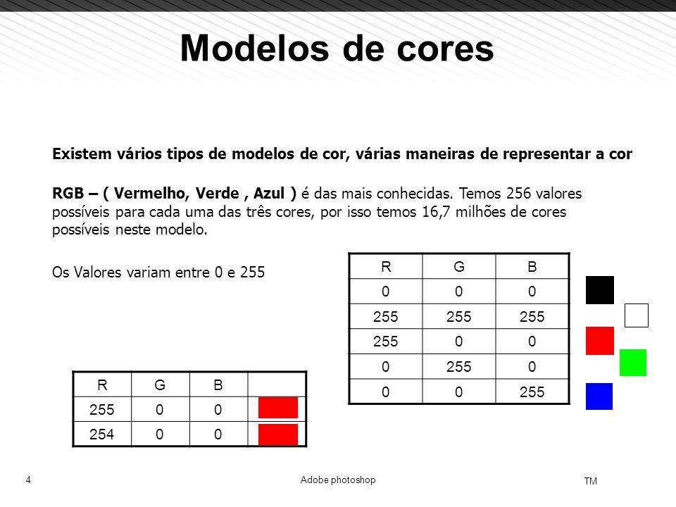4 TM Adobe photoshop Modelos de cores Existem vários tipos de modelos de cor, várias maneiras de representar a cor RGB – ( Vermelho, Verde, Azul ) é d