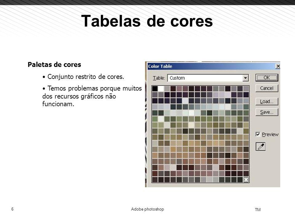 6 TM Adobe photoshop Tabelas de cores Paletas de cores Conjunto restrito de cores. Temos problemas porque muitos dos recursos gráficos não funcionam.