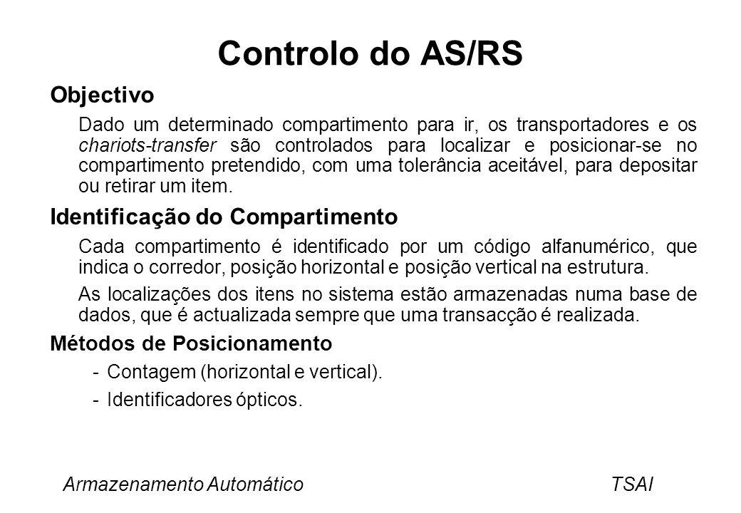 Armazenamento Automático TSAI Controlo do AS/RS Objectivo Dado um determinado compartimento para ir, os transportadores e os chariots-transfer são con