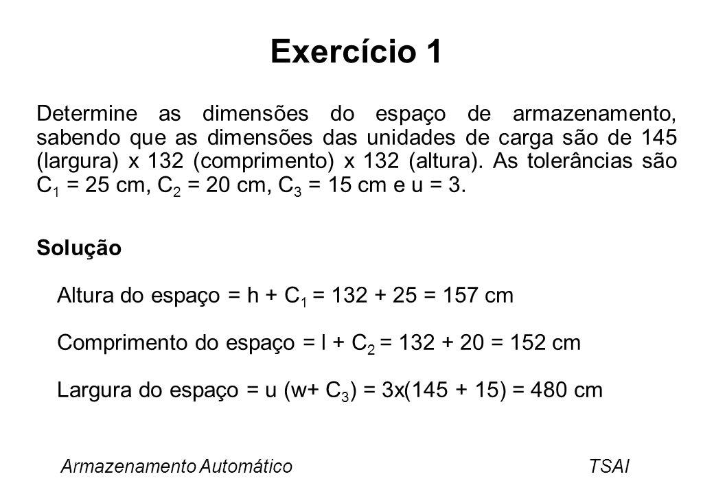 Armazenamento Automático TSAI Exercício 1 Determine as dimensões do espaço de armazenamento, sabendo que as dimensões das unidades de carga são de 145
