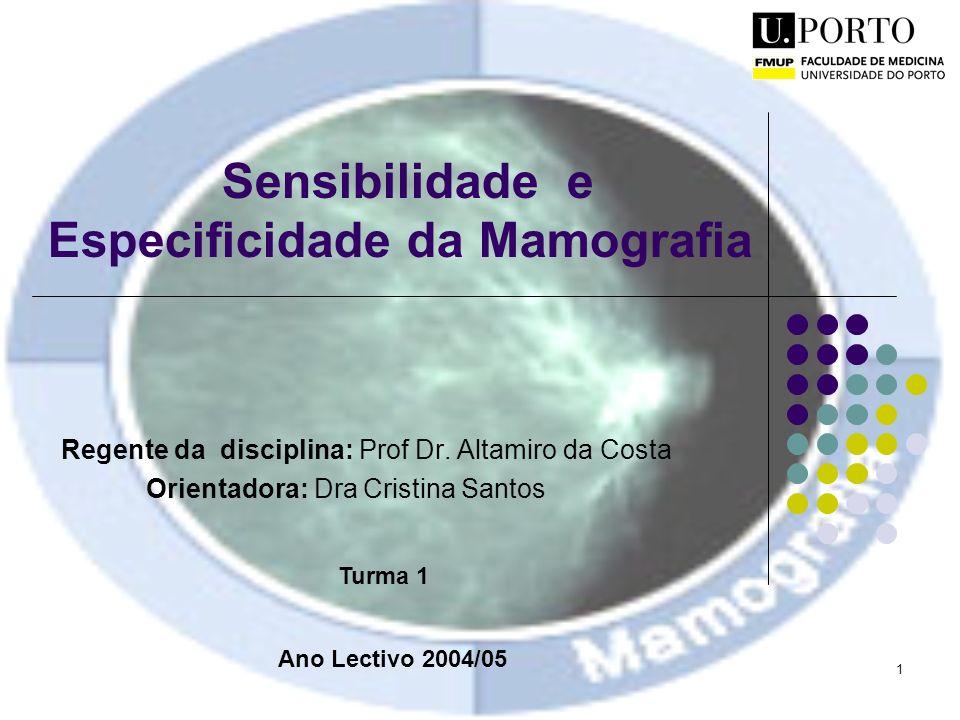 1 Sensibilidade e Especificidade da Mamografia Regente da disciplina: Prof Dr. Altamiro da Costa Orientadora: Dra Cristina Santos Ano Lectivo 2004/05
