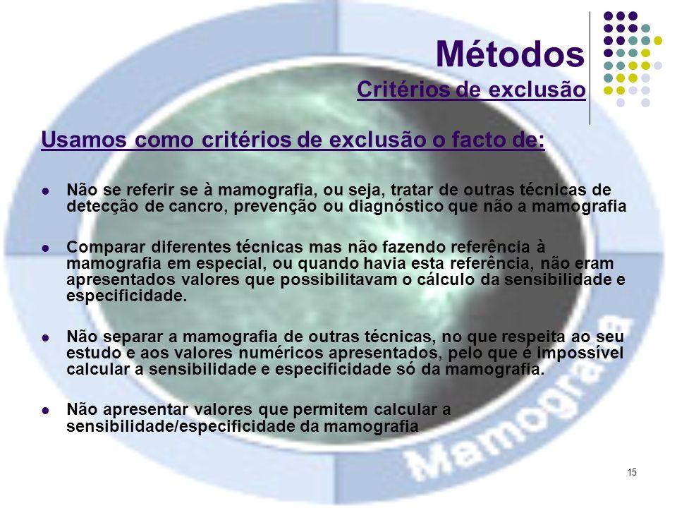 15 Métodos Critérios de exclusão Usamos como critérios de exclusão o facto de: Não se referir se à mamografia, ou seja, tratar de outras técnicas de d