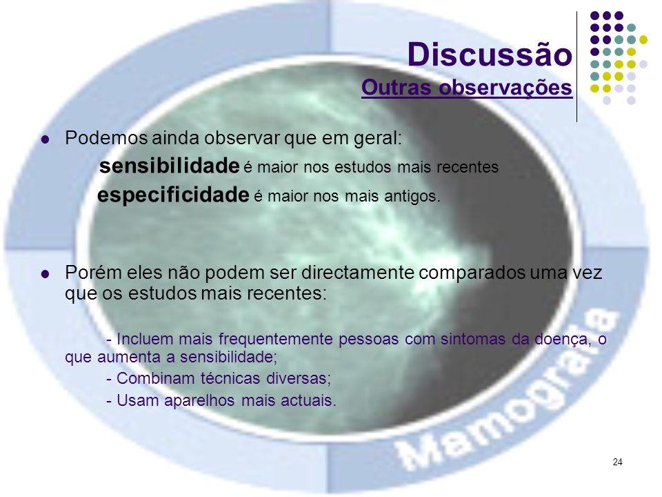 24 Discussão Outras observações Podemos ainda observar que em geral: sensibilidade é maior nos estudos mais recentes especificidade é maior nos mais a