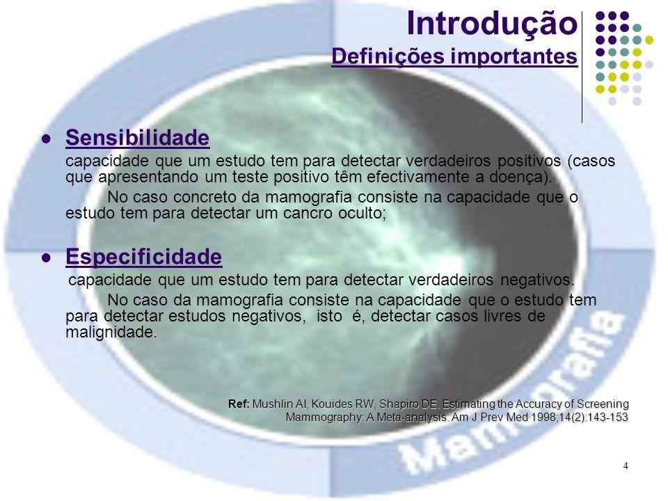 4 Introdução Definições importantes Sensibilidade capacidade que um estudo tem para detectar verdadeiros positivos (casos que apresentando um teste po