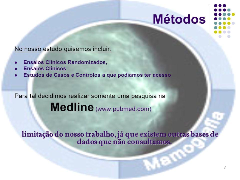 8 Métodos Tentativas antes da pesquisa final… Inicialmente, tentámos reproduzir a pesquisa efectuada na metanálise de base.