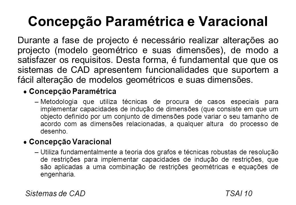 Sistemas de CAD TSAI 10 Concepção Paramétrica e Varacional Durante a fase de projecto é necessário realizar alterações ao projecto (modelo geométrico