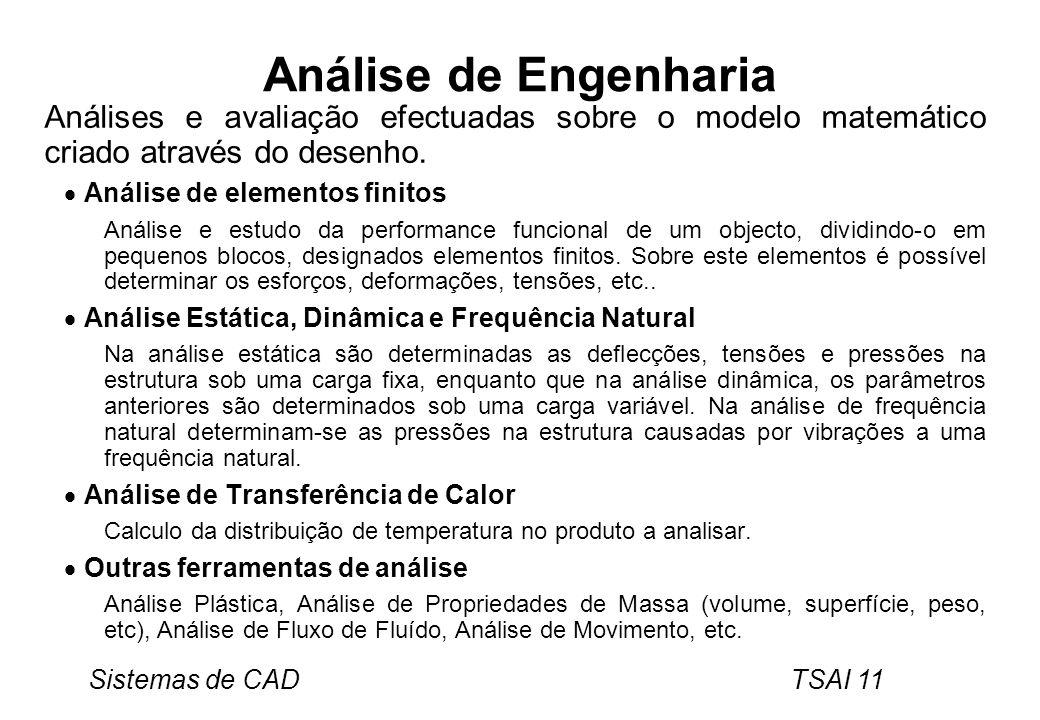 Sistemas de CAD TSAI 11 Análise de Engenharia Análises e avaliação efectuadas sobre o modelo matemático criado através do desenho. Análise de elemento