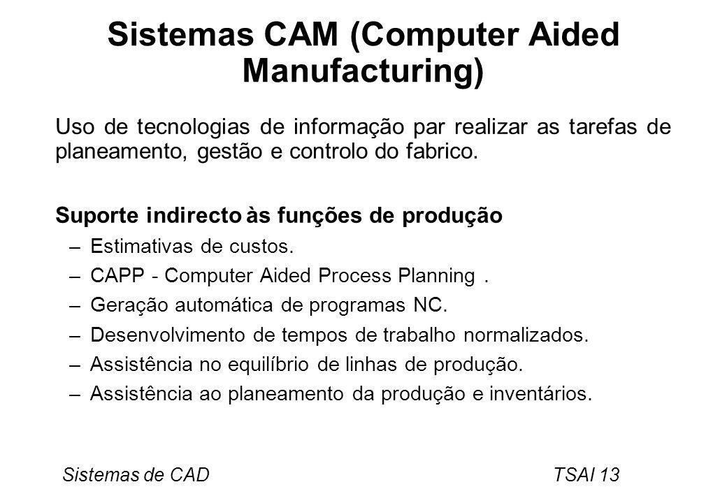 Sistemas de CAD TSAI 13 Sistemas CAM (Computer Aided Manufacturing) Uso de tecnologias de informação par realizar as tarefas de planeamento, gestão e
