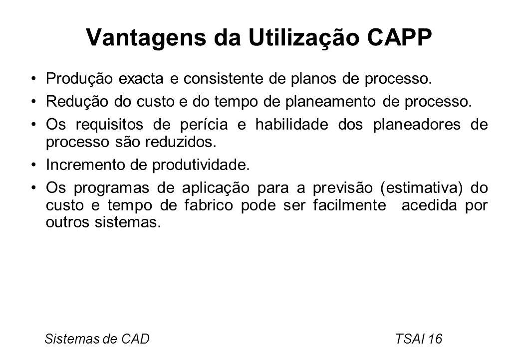 Sistemas de CAD TSAI 16 Vantagens da Utilização CAPP Produção exacta e consistente de planos de processo. Redução do custo e do tempo de planeamento d