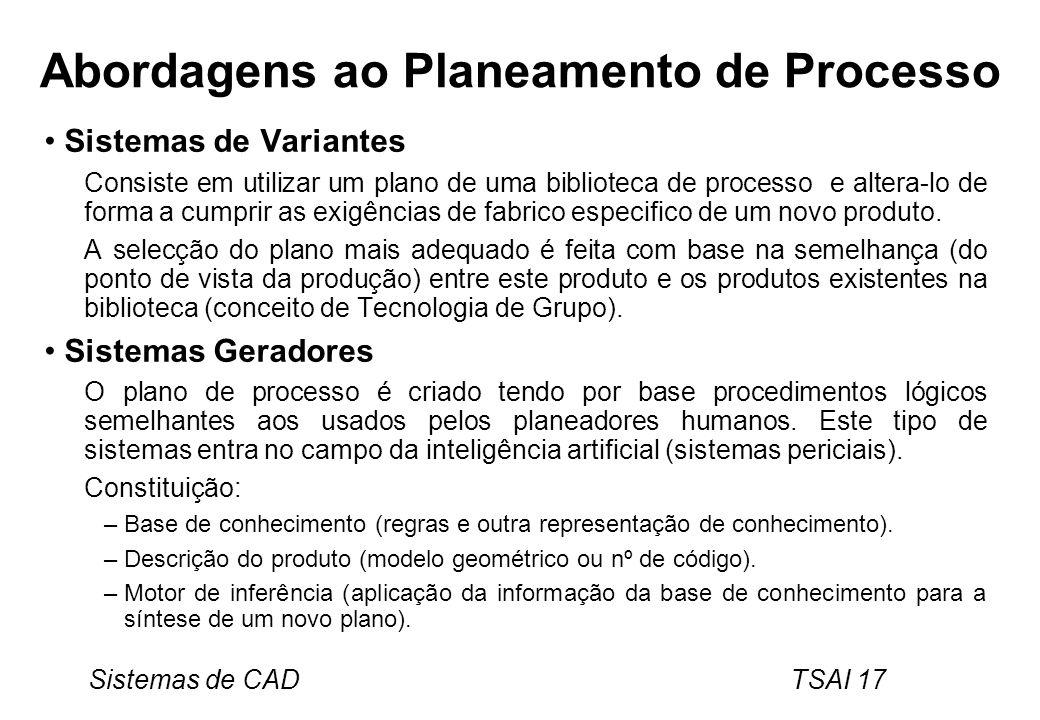 Sistemas de CAD TSAI 17 Abordagens ao Planeamento de Processo Sistemas de Variantes Consiste em utilizar um plano de uma biblioteca de processo e alte