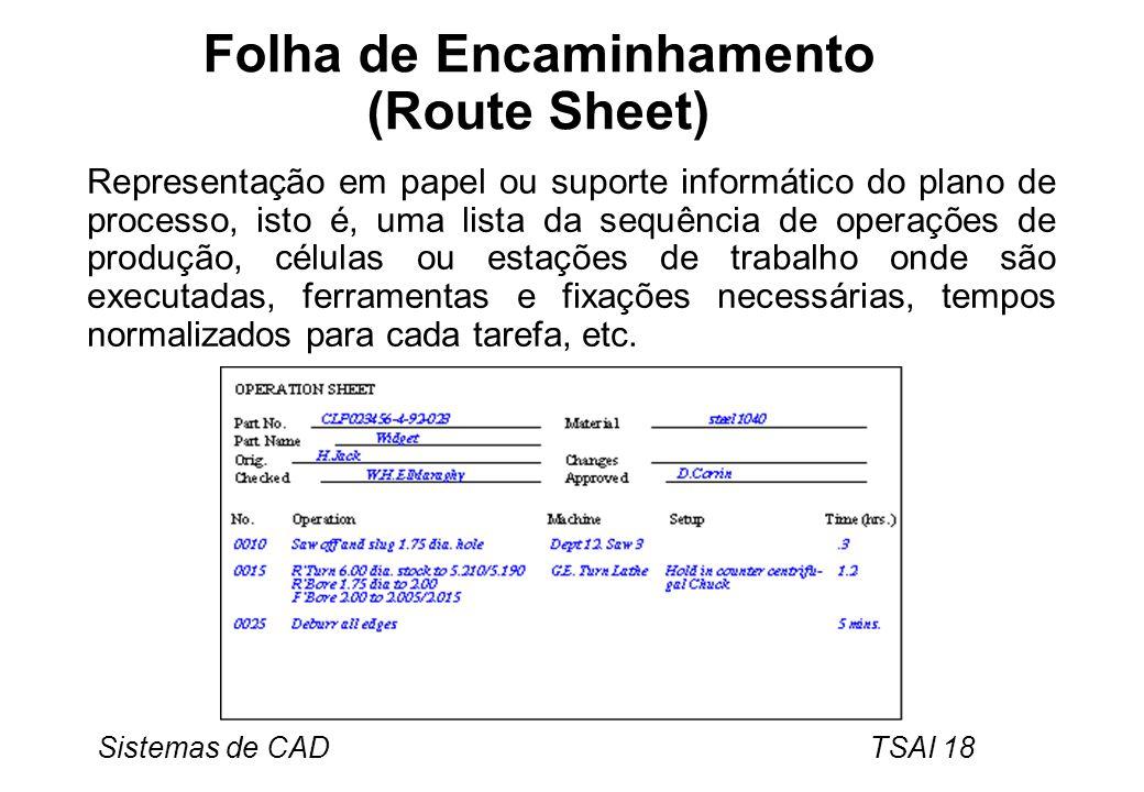 Sistemas de CAD TSAI 18 Folha de Encaminhamento (Route Sheet) Representação em papel ou suporte informático do plano de processo, isto é, uma lista da