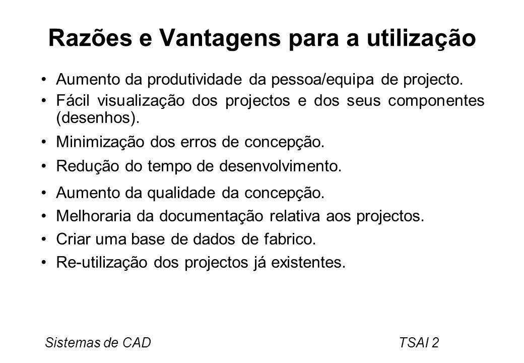 Sistemas de CAD TSAI 2 Razões e Vantagens para a utilização Aumento da produtividade da pessoa/equipa de projecto. Fácil visualização dos projectos e