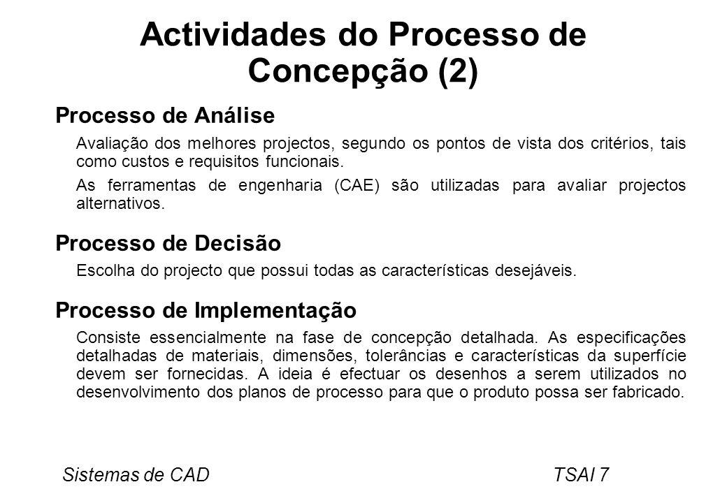 Sistemas de CAD TSAI 7 Actividades do Processo de Concepção (2) Processo de Análise Avaliação dos melhores projectos, segundo os pontos de vista dos c