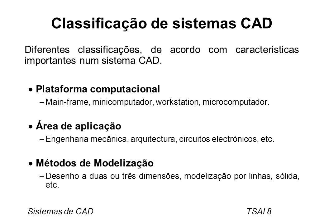 Sistemas de CAD TSAI 8 Classificação de sistemas CAD Diferentes classificações, de acordo com caracteristicas importantes num sistema CAD. Plataforma