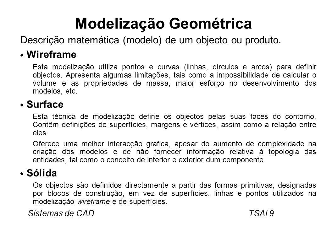 Sistemas de CAD TSAI 9 Modelização Geométrica Descrição matemática (modelo) de um objecto ou produto. Wireframe Esta modelização utiliza pontos e curv