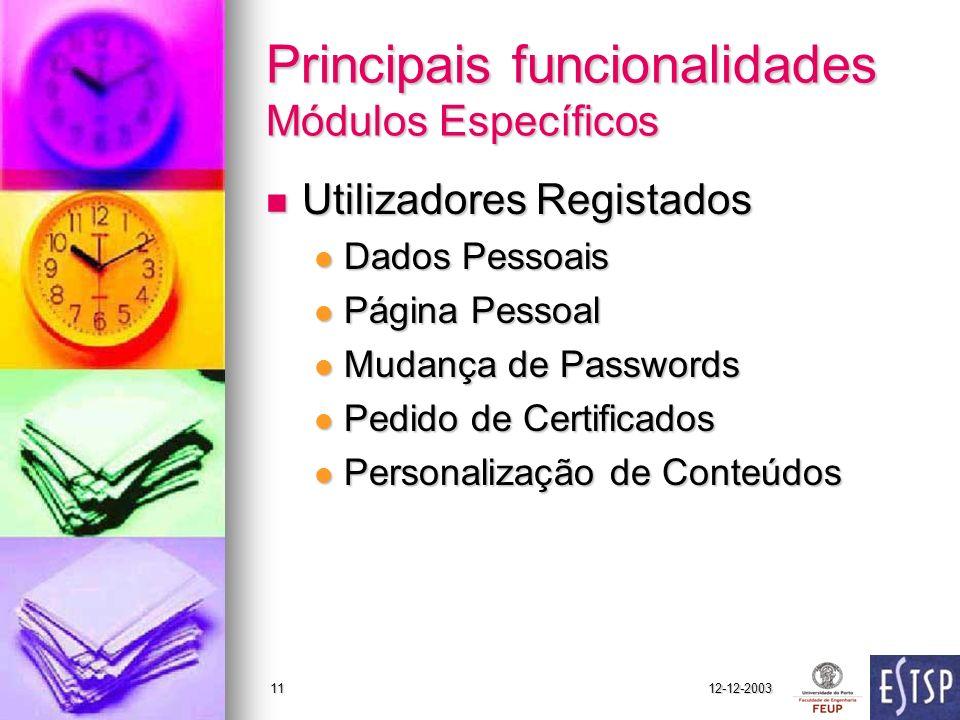 12-12-200311 Principais funcionalidades Módulos Específicos Utilizadores Registados Utilizadores Registados Dados Pessoais Dados Pessoais Página Pesso