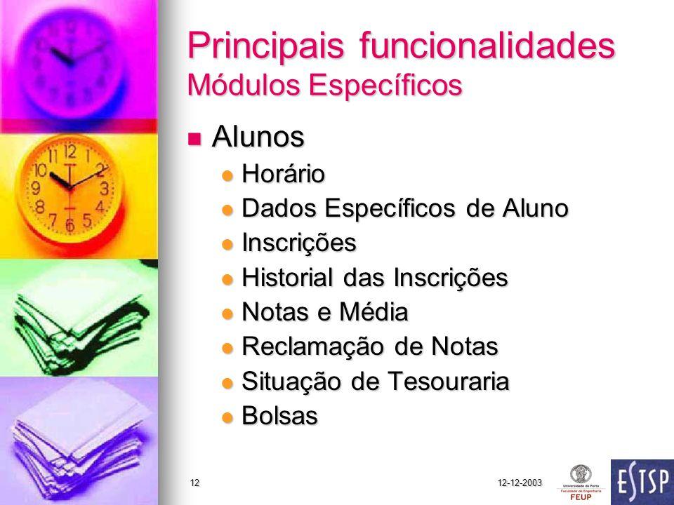 12-12-200312 Principais funcionalidades Módulos Específicos Alunos Alunos Horário Horário Dados Específicos de Aluno Dados Específicos de Aluno Inscri