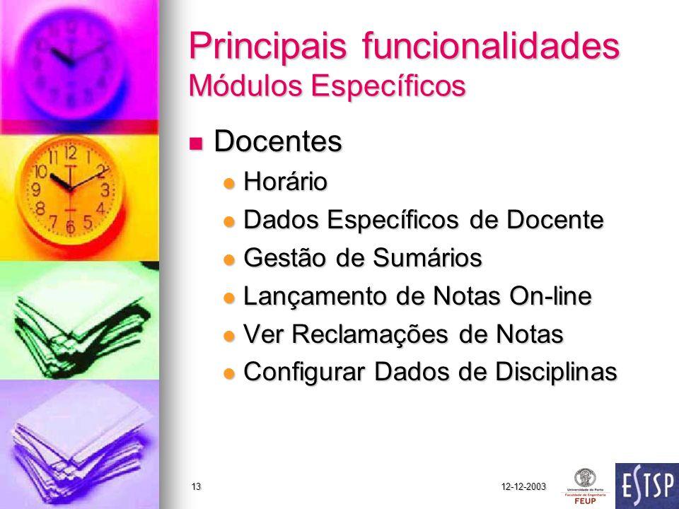 12-12-200313 Principais funcionalidades Módulos Específicos Docentes Docentes Horário Horário Dados Específicos de Docente Dados Específicos de Docent